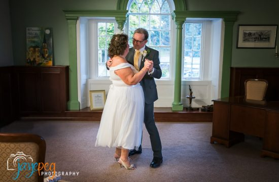 bride and groom first dance after their elopement wedding at cockermouth town hall