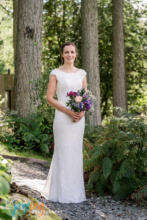 a bridal portrait in woodland