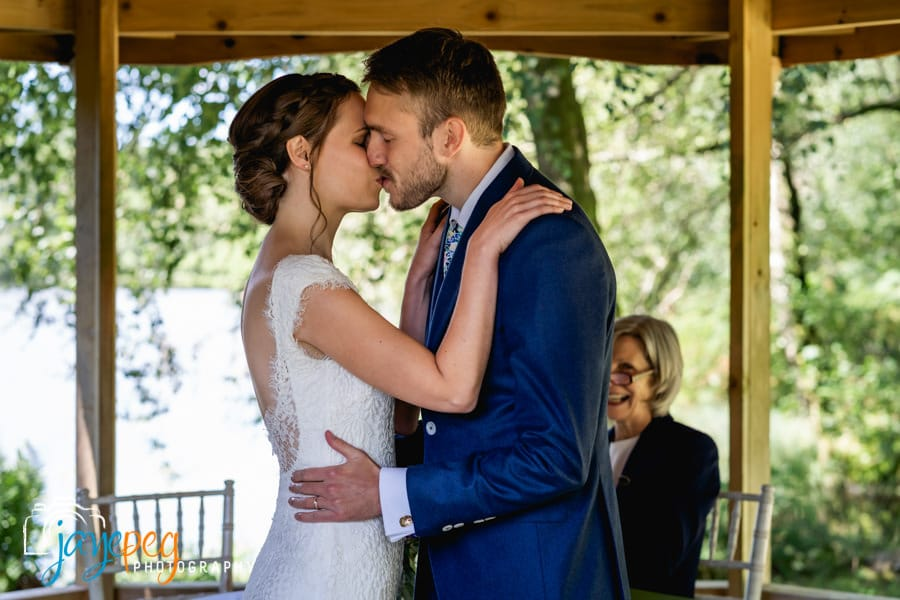 the first kiss for two newly weds