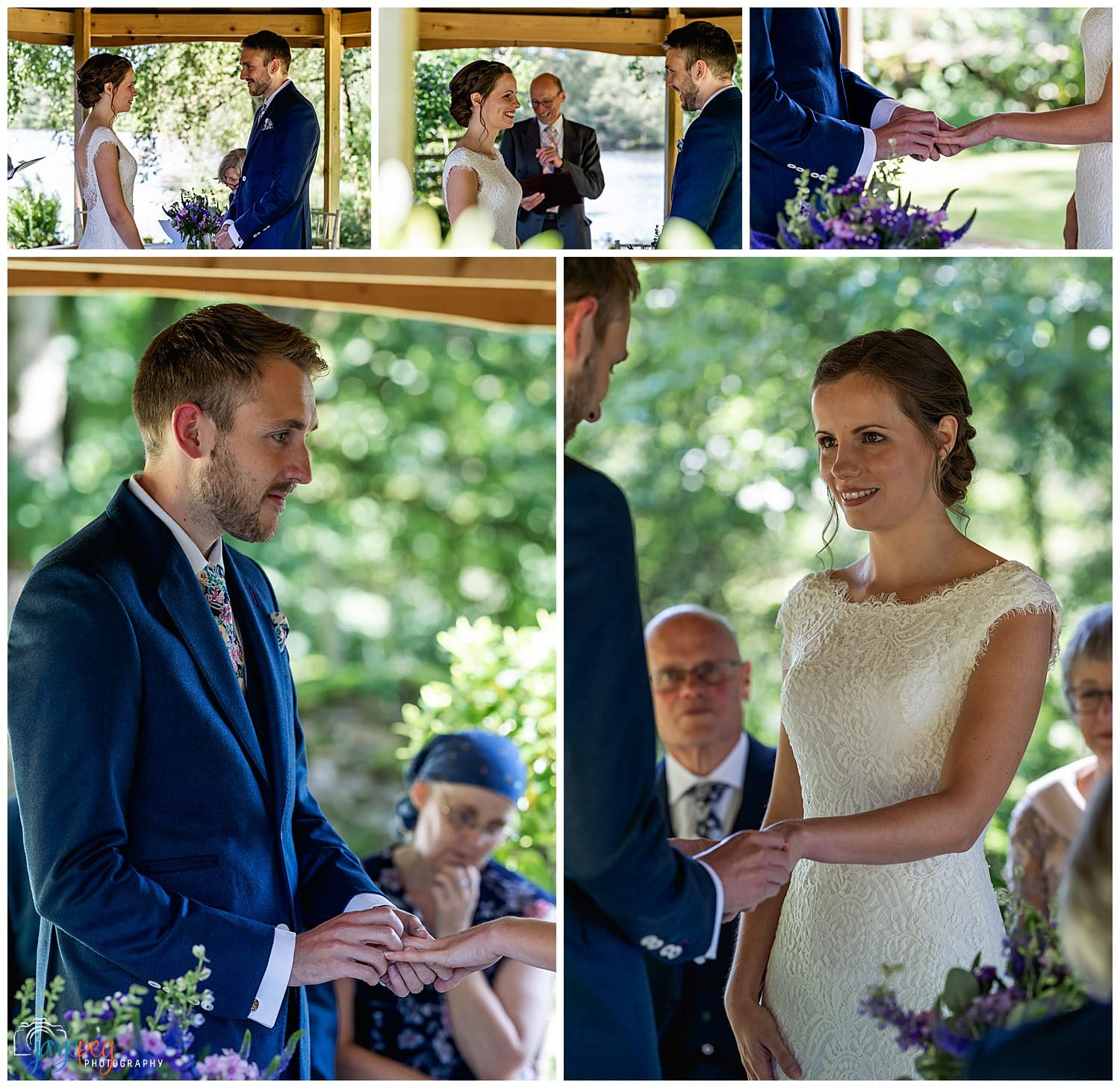a wedding ceremony in the gazebo at gilpin lake house