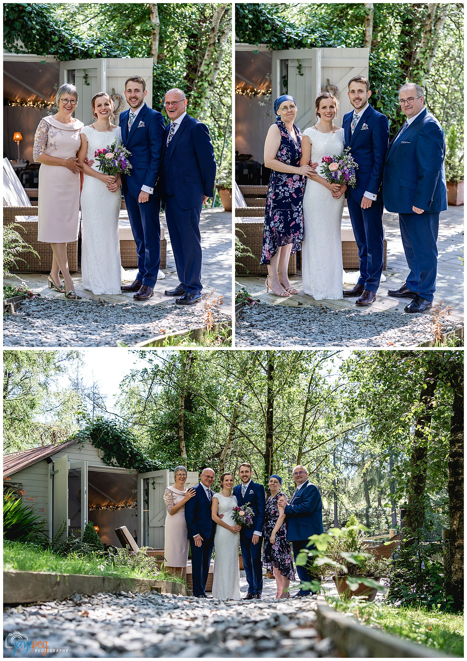 a bride and groom pose with their parents at the boathouse at gilpin lake house