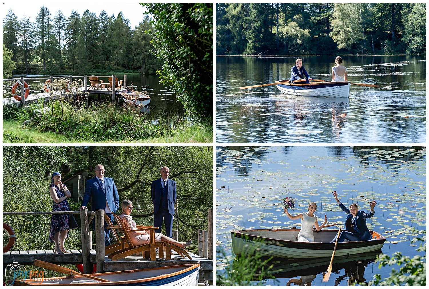 a newly married couple boating on knipe tarn at gilpin lake house