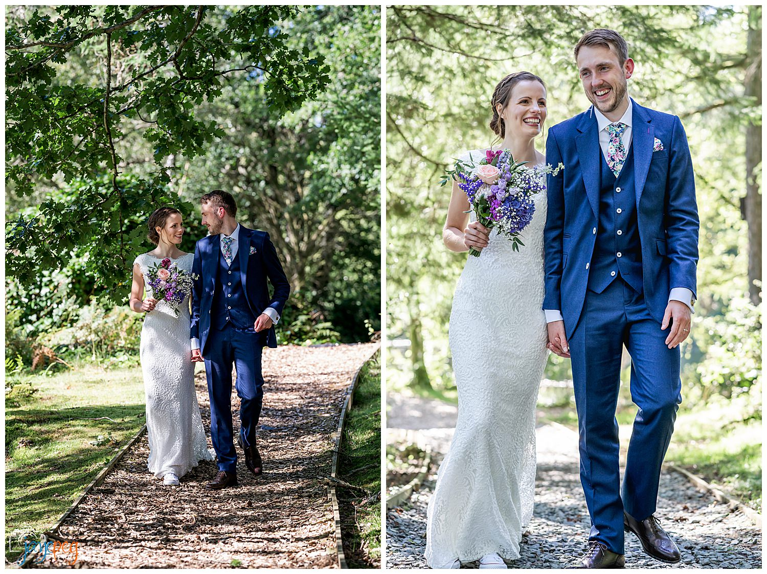 a bride and groom walking through the woods at gilpin lake house