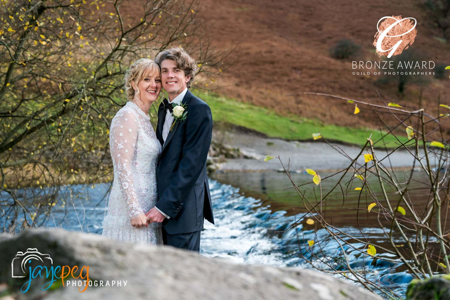 a bride and groom at grasmere on their wedding day