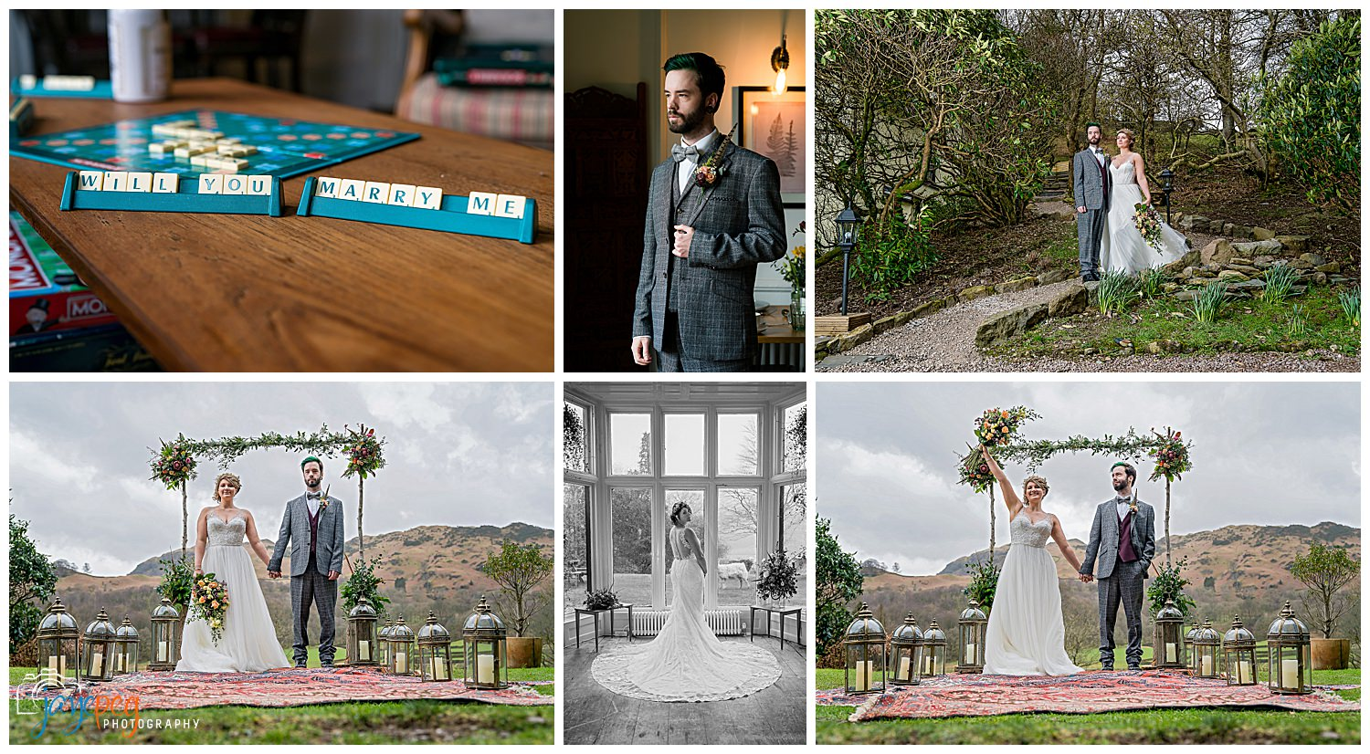 A collage of photographs from a wedding themed photoshoot