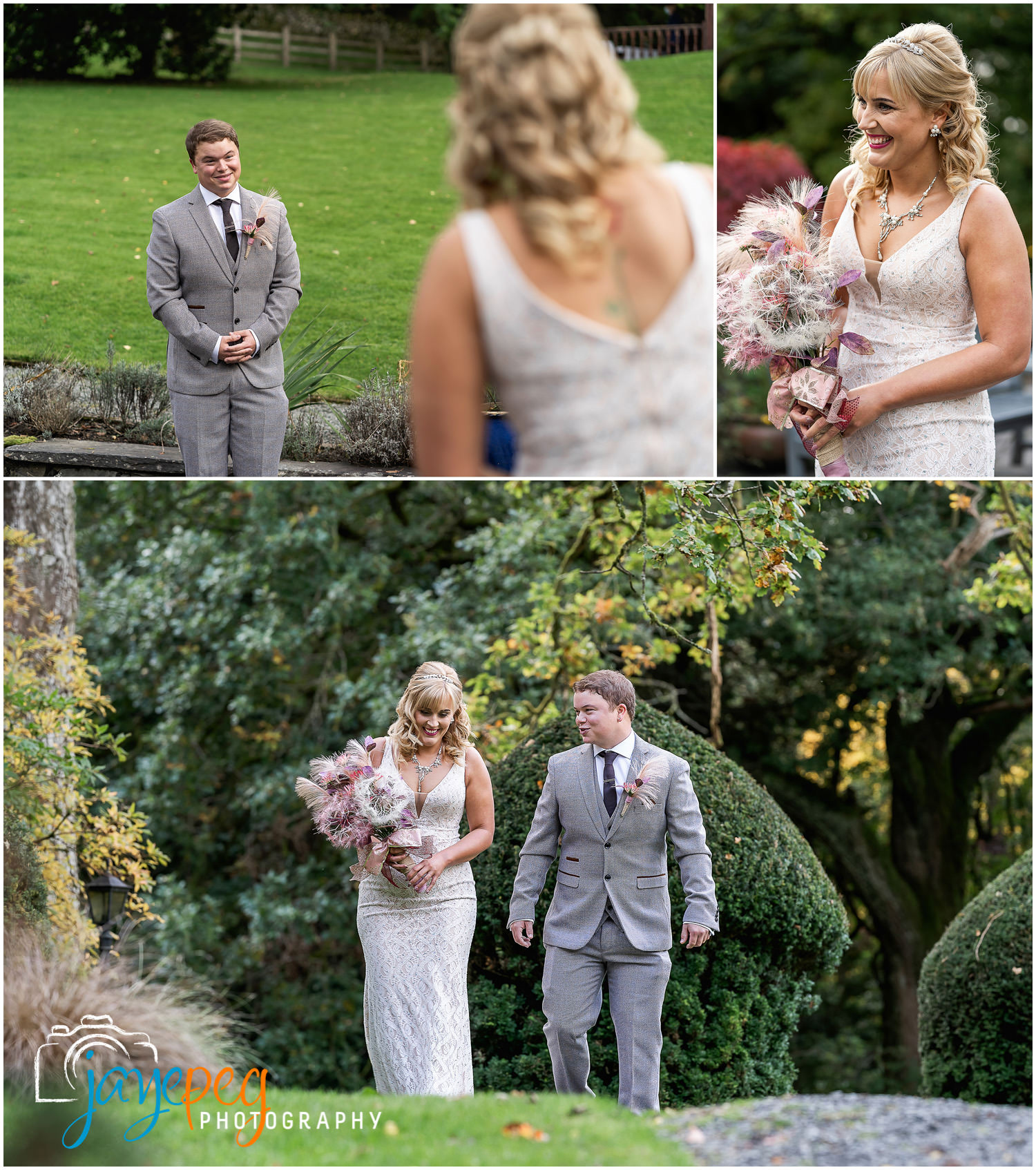 a bride and groom meet and then walk to their wedding ceremony