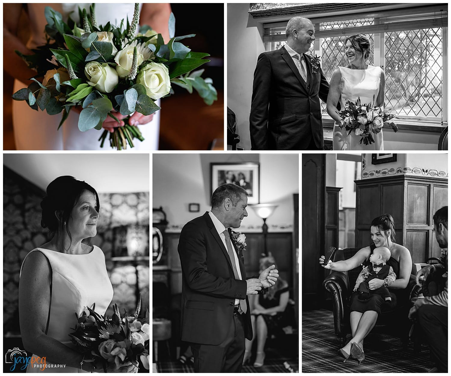 photos of a bride and groom before their wedding in the music room at broadoaks country house hotel