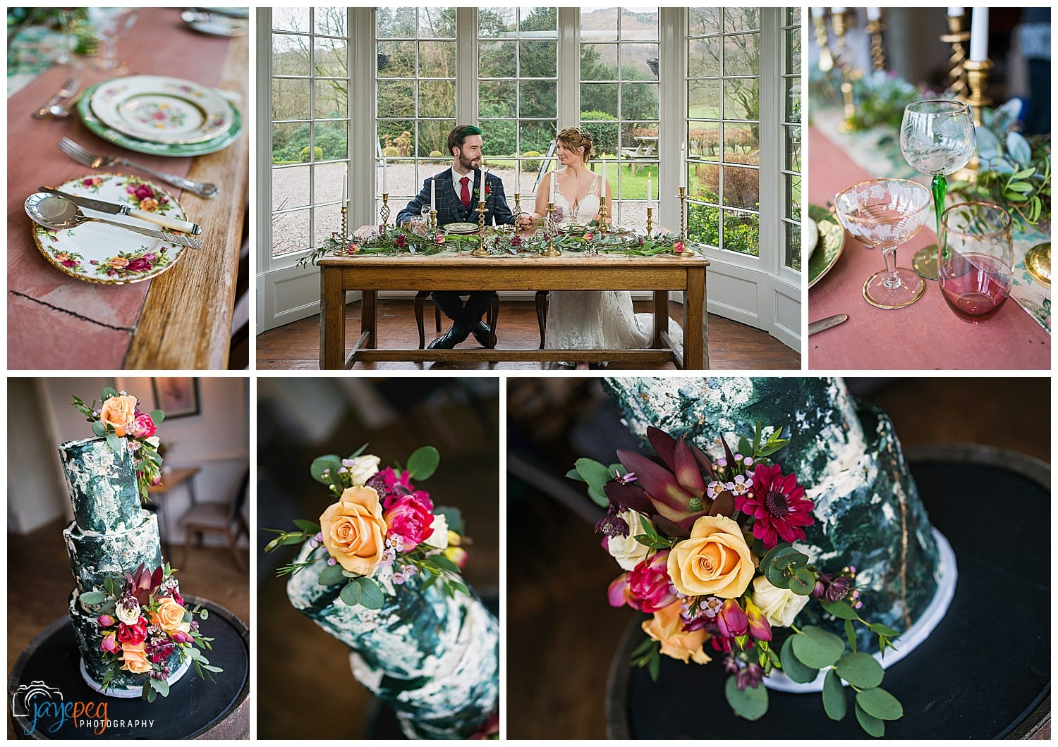 a bride and groom with their vintage tableware and wedding cake