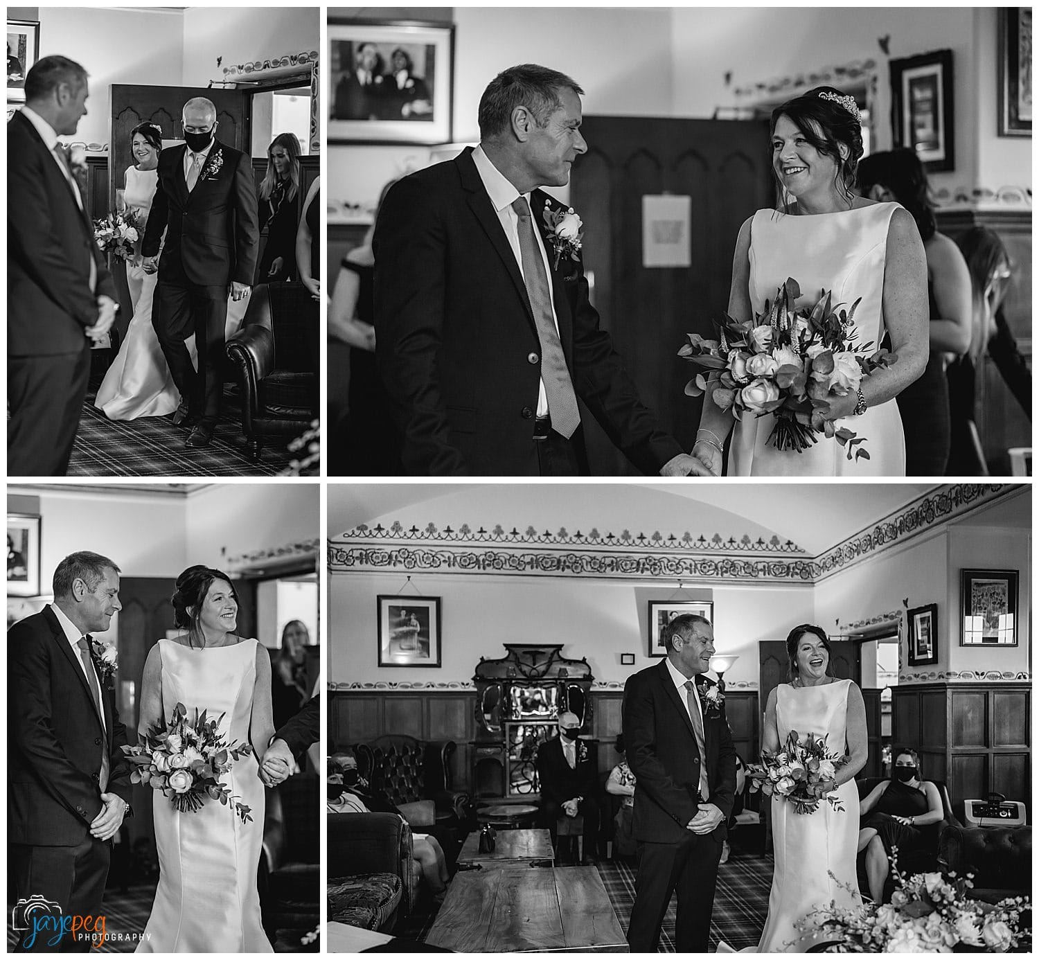a wedding ceremony in the music room at broadoaks country house hotel