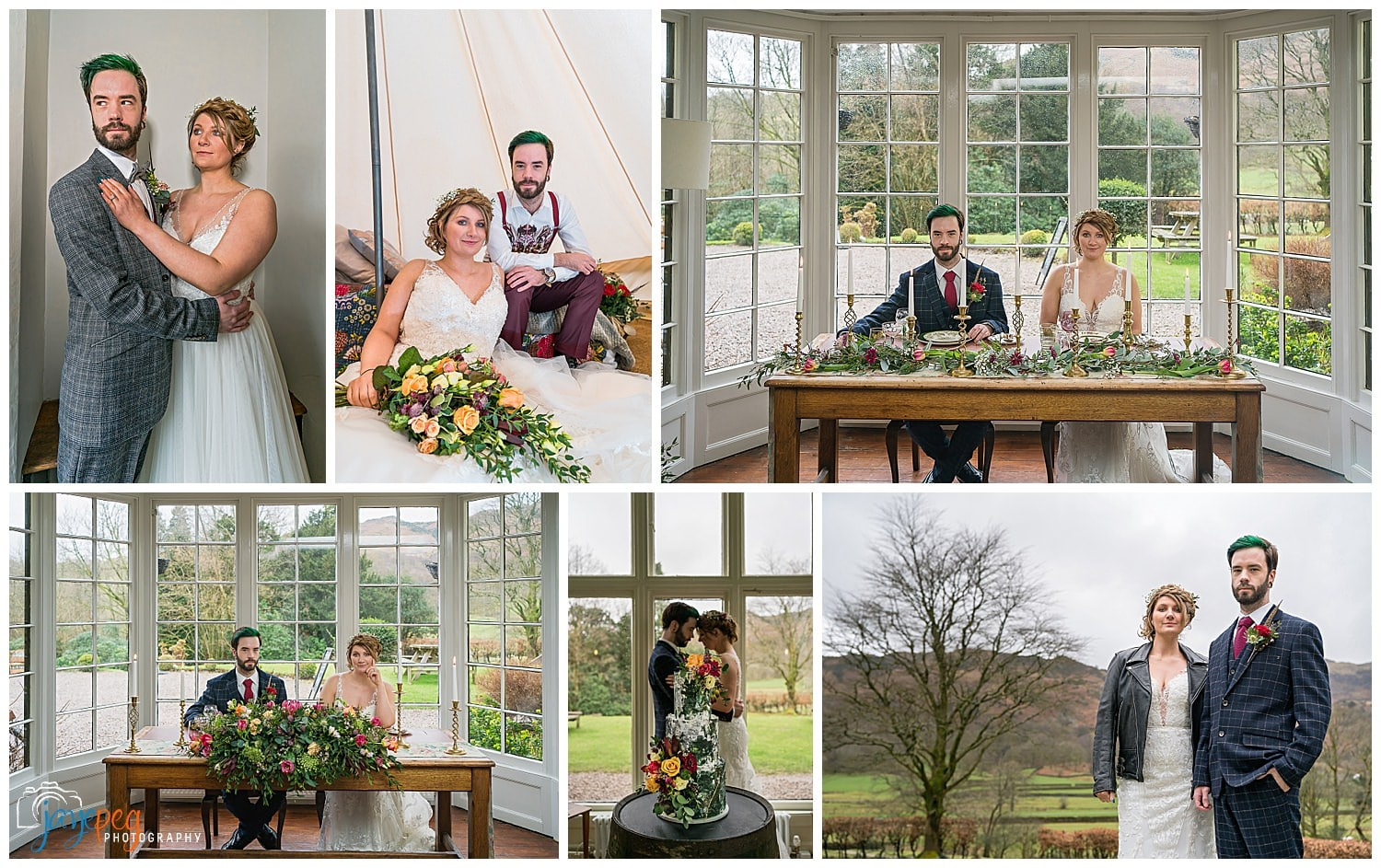 a collage of portraits of a bride and groom from a styled photoshoot in grasmere