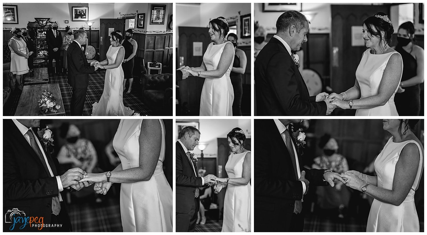 a bride and groom exchange vows during a wedding ceremony in the music room at broadoaks country house hotel