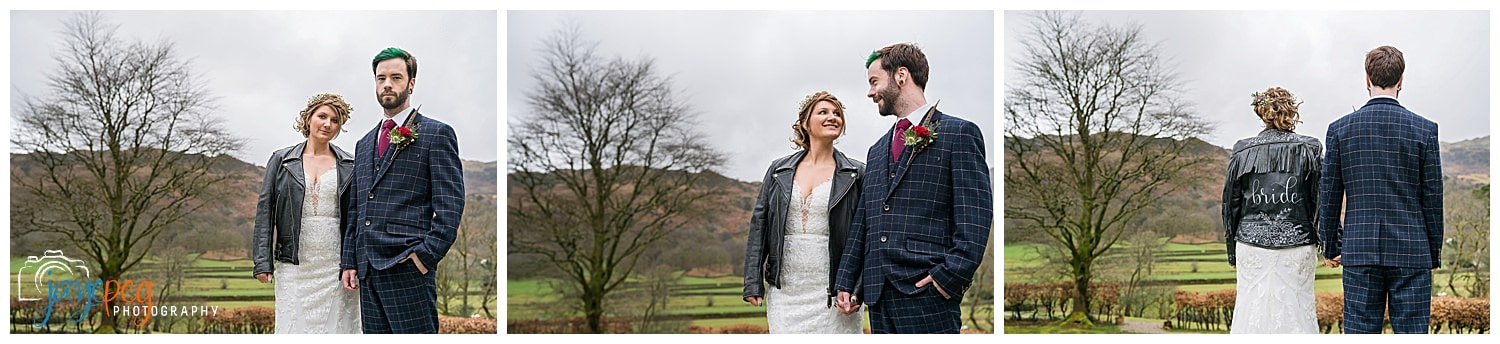 portraits of a bride and groom in the easedale valley near grasmere