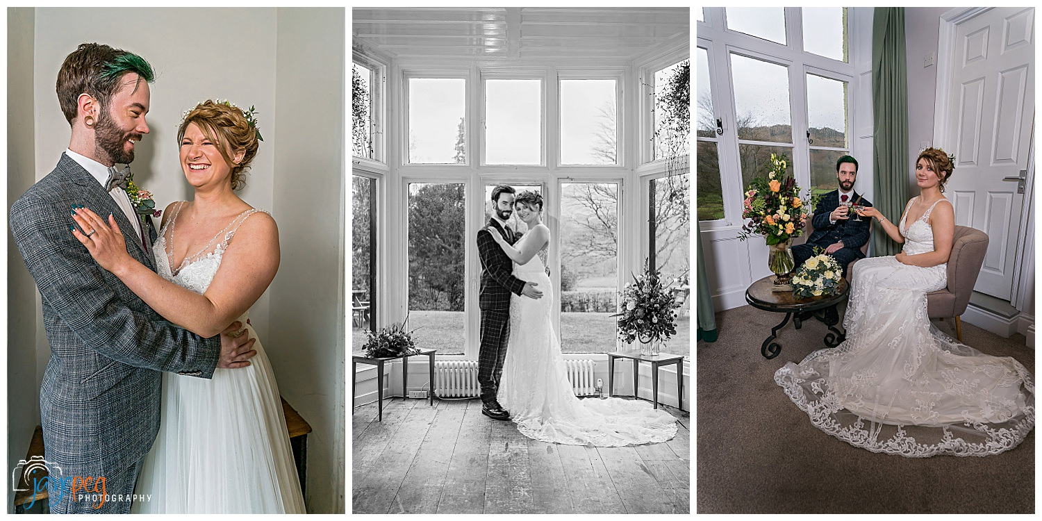 bride and groom portraits at the lancrigg hotel in grasmere