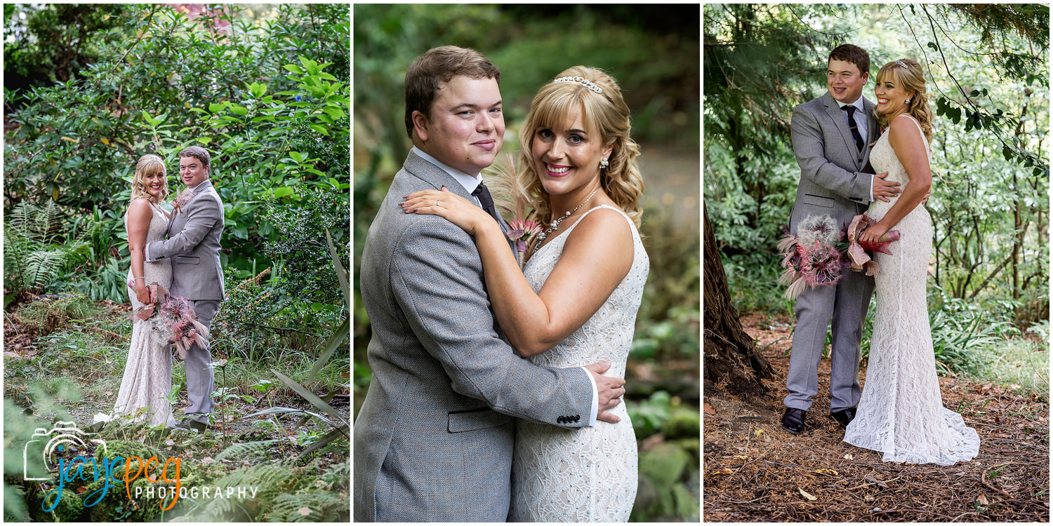 photographs of a bride and groom in the gardens of briery wood country house hotel near windermere