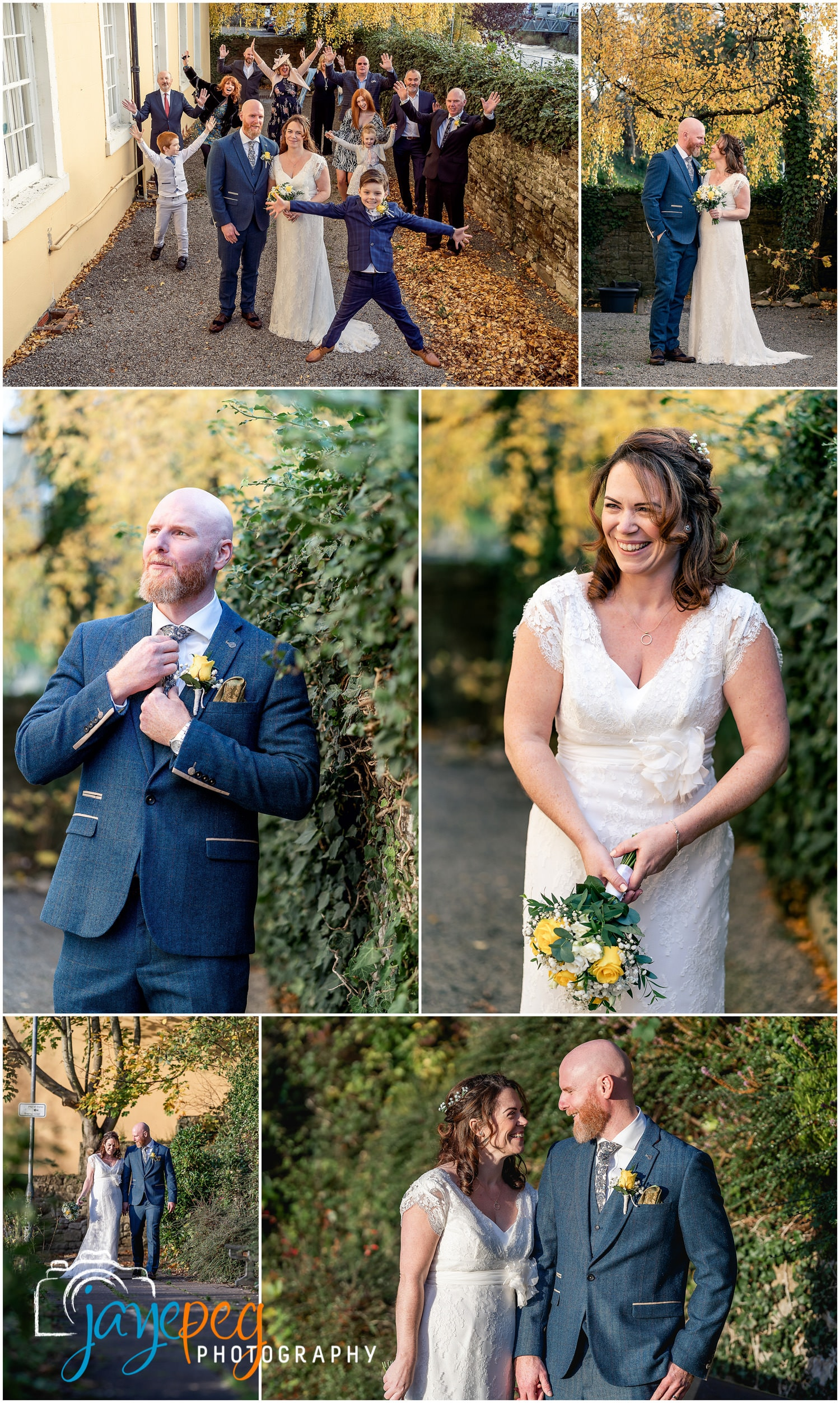 photographs of a wedding party, bride and groom after a wedding at cockermouth town hall