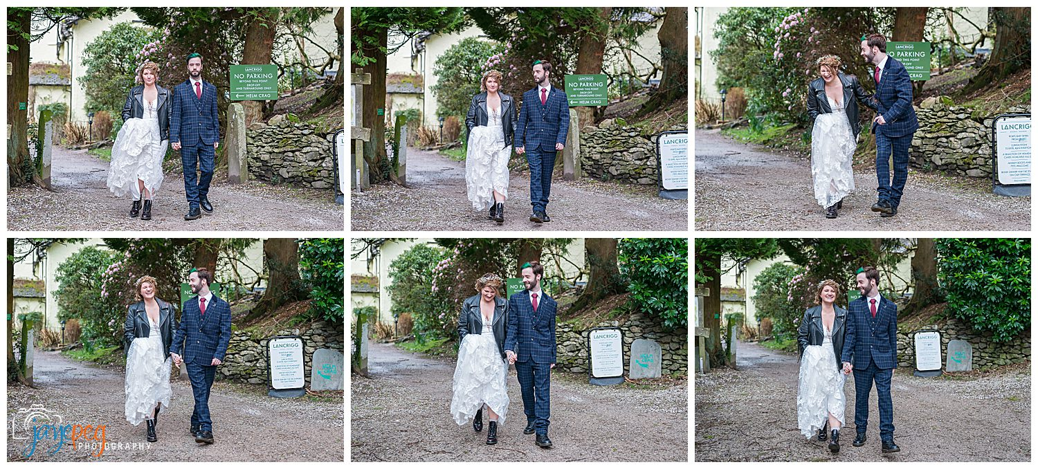 a collage of photographs of a bride and groom walking outside the lancrigg hotel in grasmere