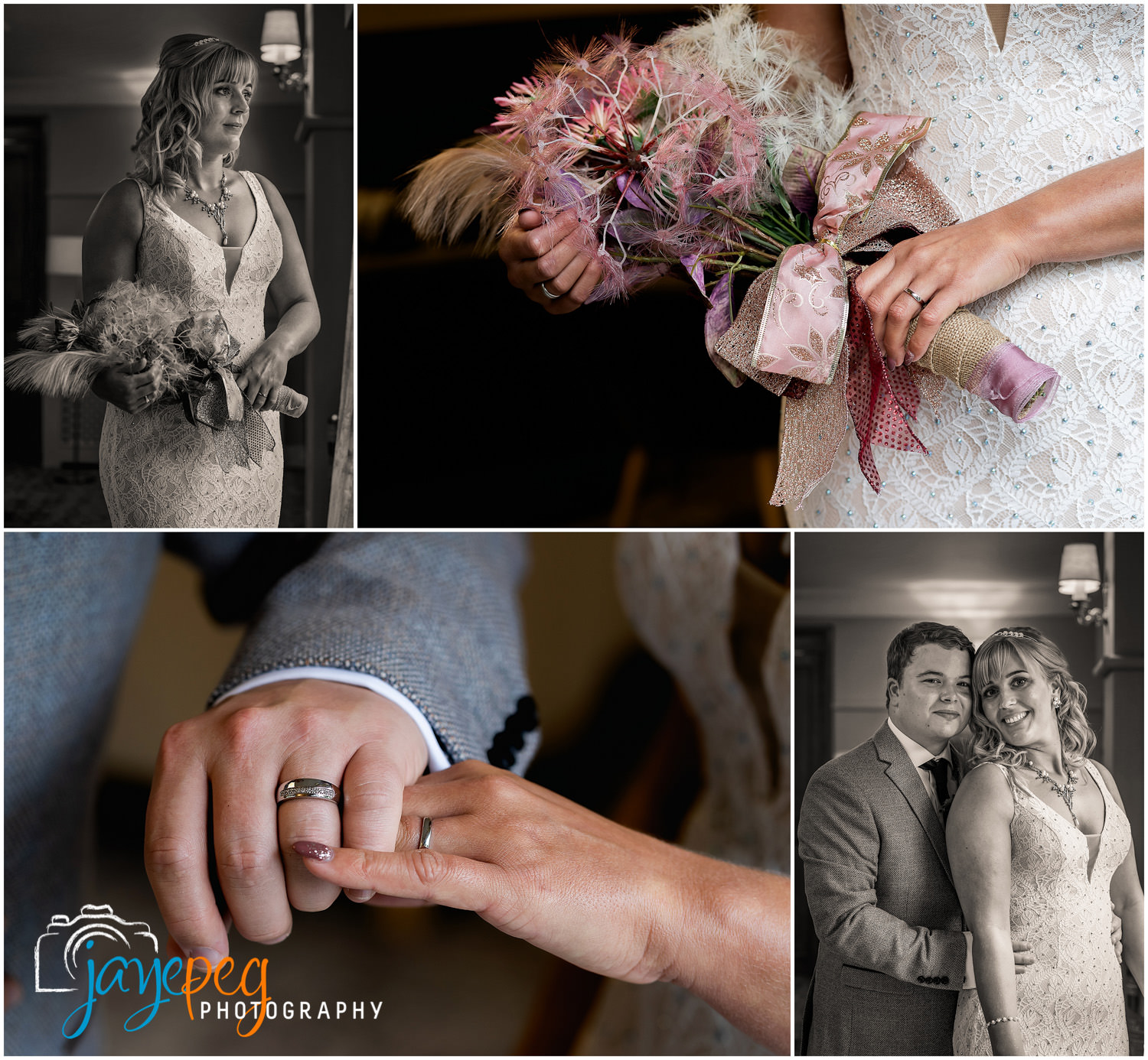 portraits of a bride and groom at their elopement wedding
