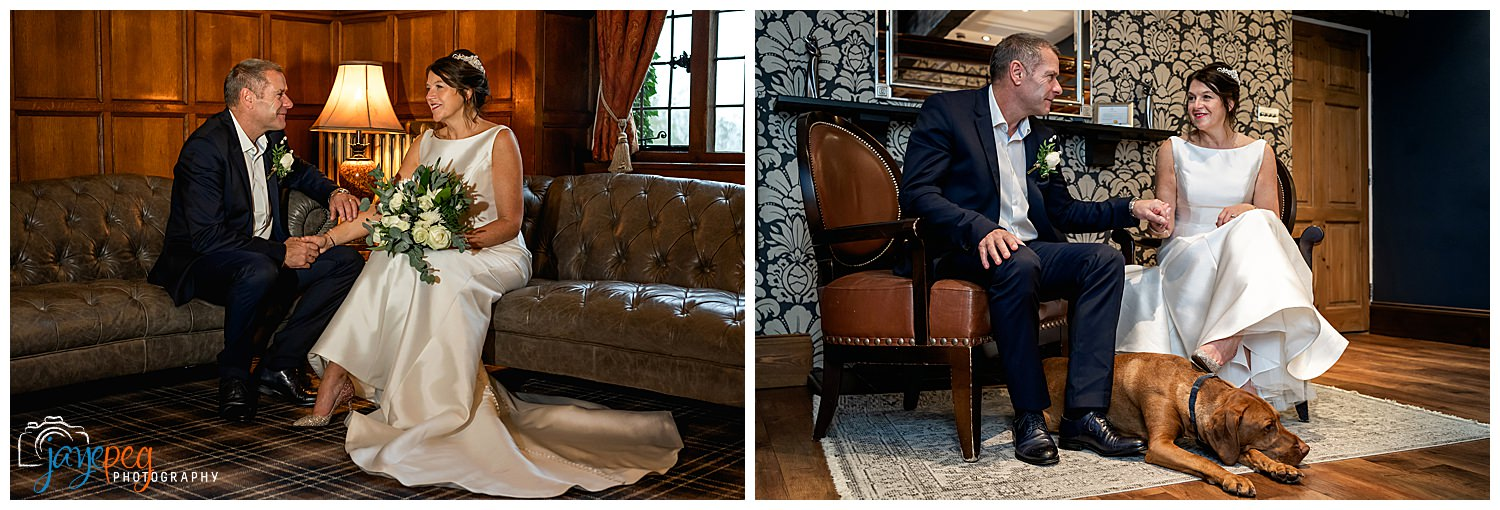 photographs of a bride and groom sitting down together and also with their dog