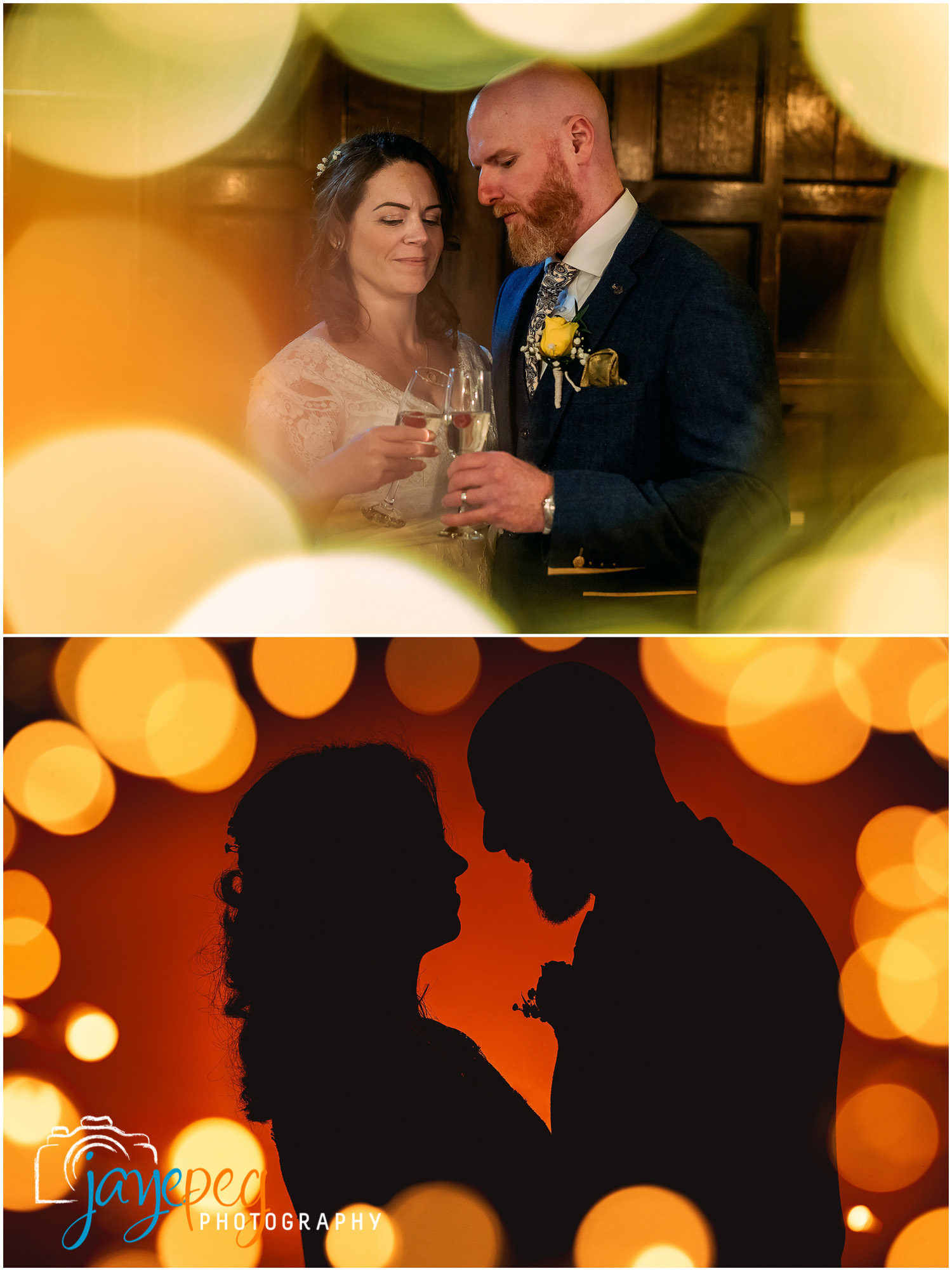 photographs of a bride and groom surrounded by bokeh balls and in silhouette