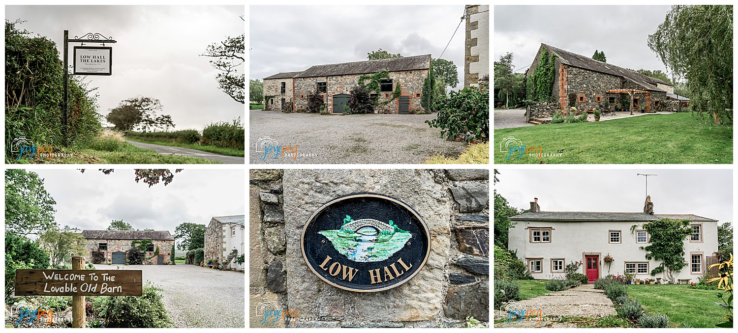 a collage of photos from low hall the lakes wedding venue