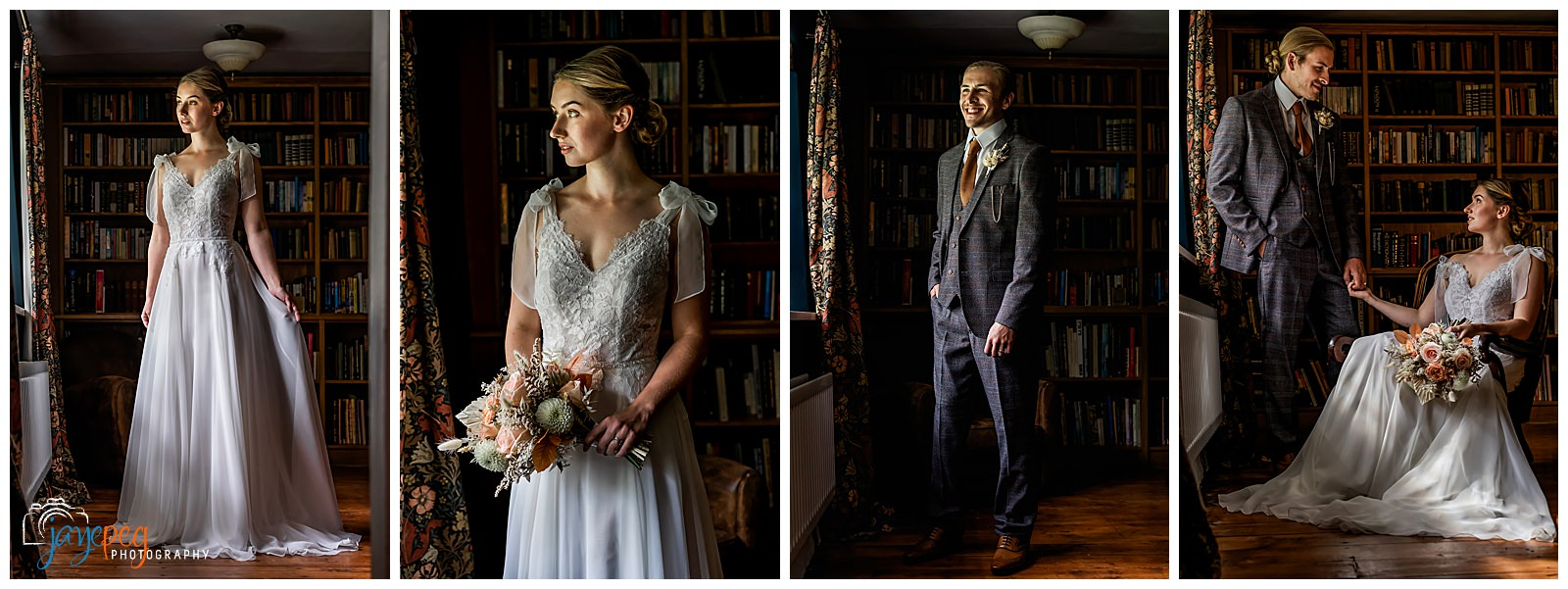 collage of portraits of a bride, a groom and a bride and groom together in a library