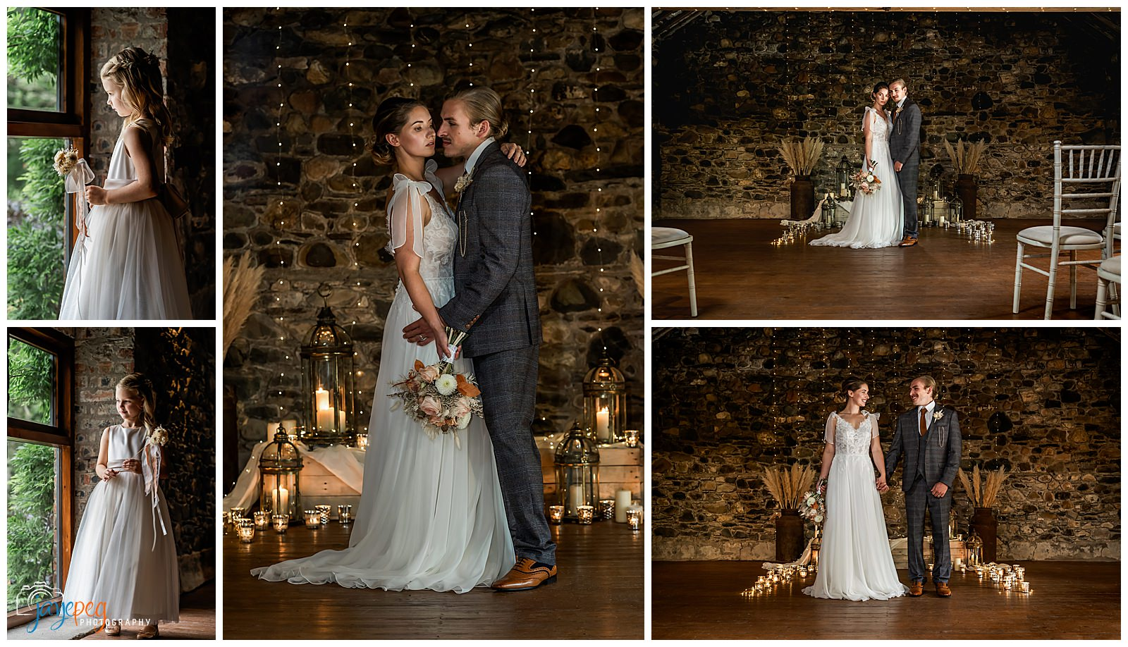 a flower girl and a bride and groom in the loveable old barn at low hall the lakes
