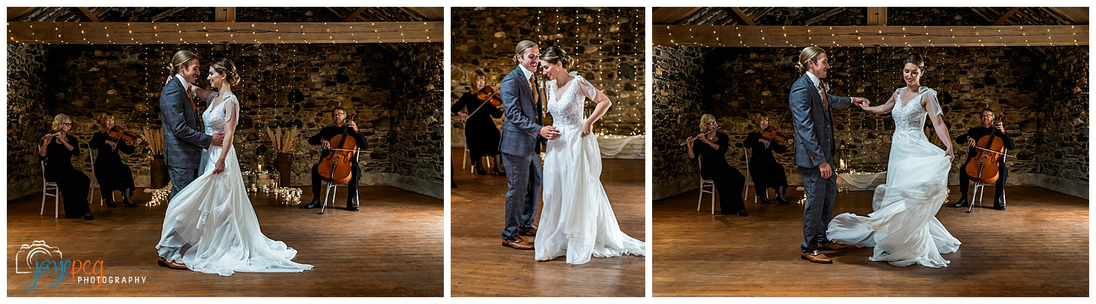 bride and groom dancing to classical musicians